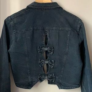 Vintage Cropped Black Jean Jacket with Bows Small